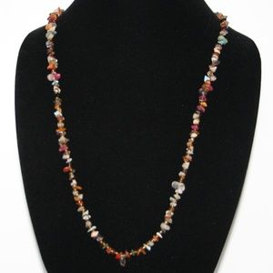 Beautiful vintage natural stone necklace 34""